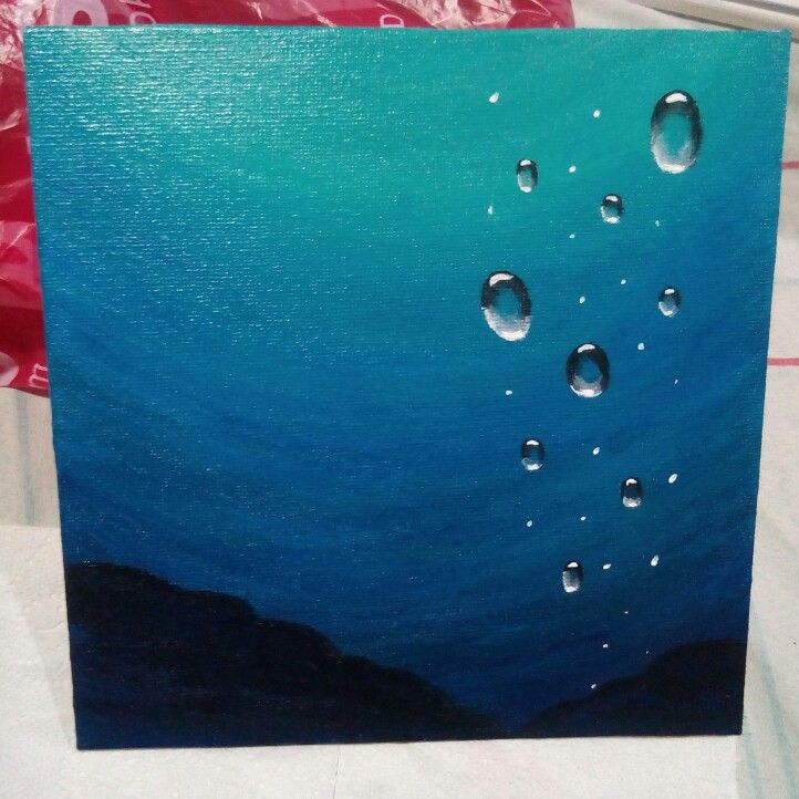 Underwater bubbles Acrylic painting on canvas