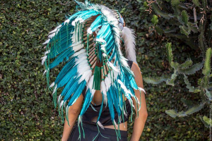 """Купить Индейский роуч """"Снежный тигр"""" - морская волна, индейский стиль, индейцы, индейское украшение"""