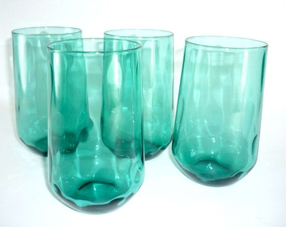 Aqua Tumblers Teal Drinking Glasses Set of 4 by ChromaticWit, $14.99