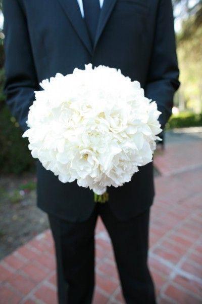 All White Wedding Bouquet for bridesmaids and color for bride