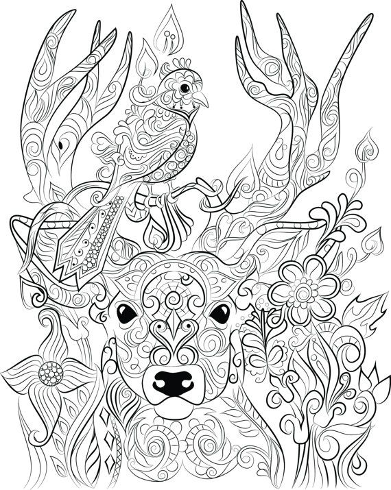 33 best chandraws mind escape images on pinterest adult for Deer coloring pages for adults