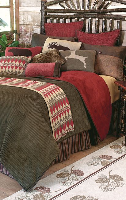 Wilderness Rustic Bed Set | AlogCabinStore Cabin Bedding Collection with Moose, Deer and Bear