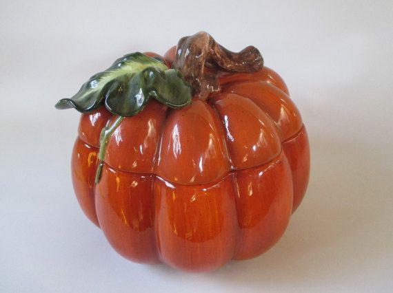 Pumpkin Vintage Cookie Jar Storage Soup Tureen Stew by HobbitHouse