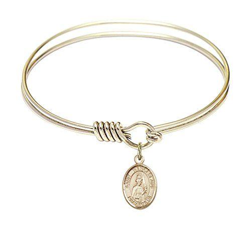 6 14 inch Round Eye Hook Bangle Bracelet w St Wenceslaus medal charm ** For more information, visit image link.