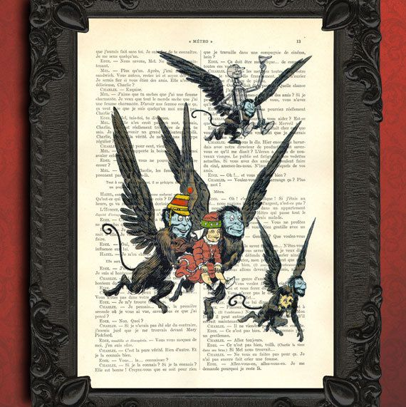 Wizard of oz - flying monkey scene vintage WIZARD OF OZ illustration book page - beautifully upcycled french book page flying monkeys $7.99...