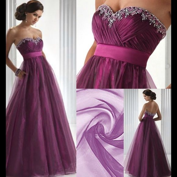 A Line Sweetheart Ball Gown/Prom/Wedding This is a perfect gown for any occasion! Color: Grape/ Purple--Zipper in back--Floor Length--Any Body Shape!!--Built in Bra---All Seasons--Fully Lined--Waist:Empire--Embelishment: Cascading Ruffle, Beading, Sashes/ Ribbon. You can not go wrong with this dress. It was used once and is dry cleaned. This perfect tulle dress is nearly half the original price! If your looking for something that will dazzle the crowd; this dress will be perfect!!! Feel free…