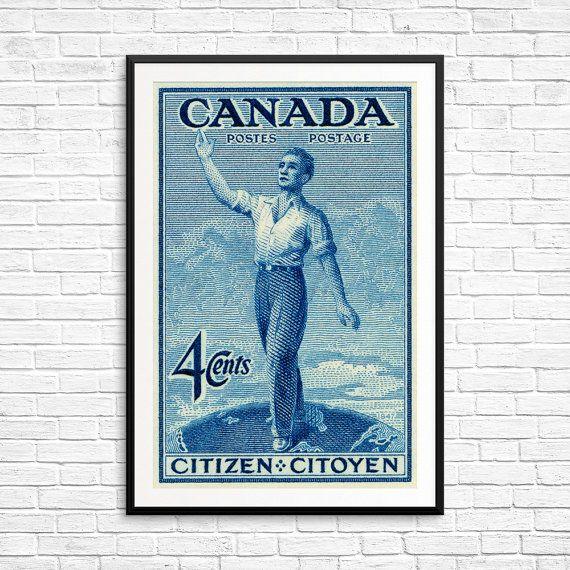Canada Citizen Stamp, Citoyen, Canadian Citizen, Citizenship, Postal Art, Postal Stamp, large original art prints, home decor wall art