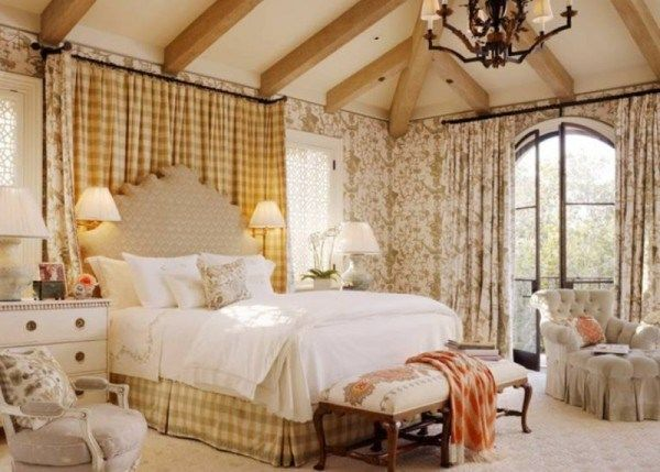 light pastel colored mediterranean bedroom decor with French country accents