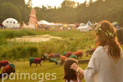 The lake at dusk during the Latitude Festival at Henham Park in Suffolk.