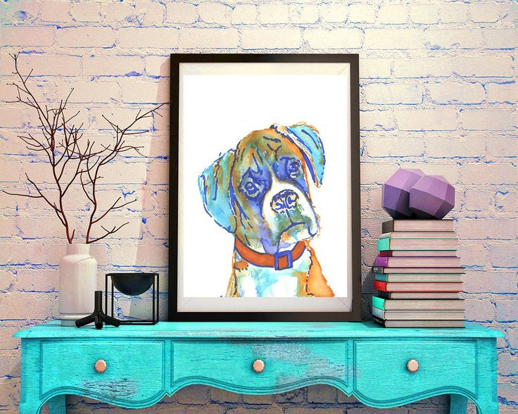 Boxer Dog, art Print of Original, watercolor painting,boxer illustration, … #art #DogPortait https://t.co/Qcz0eQ8uC7:… #dogs #pets #puppy