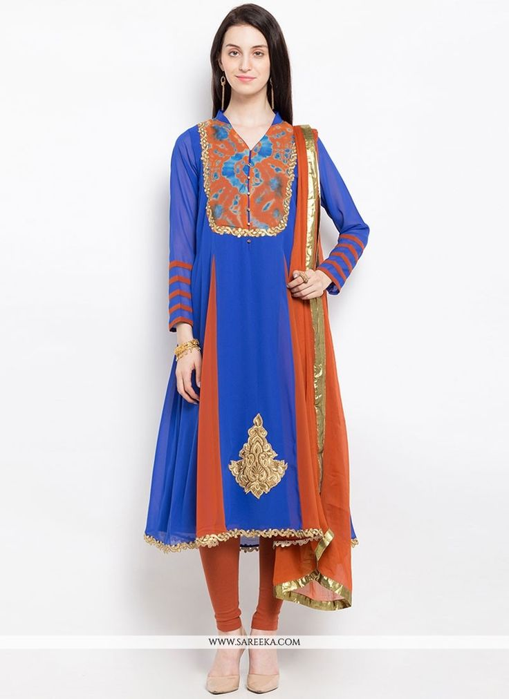 This blue faux georgette readymade suit add the sense of elegant and glamorous. The brilliant attire creates a dramatic canvas with amazing embroidered and resham work. Comes with matching bottom and ...