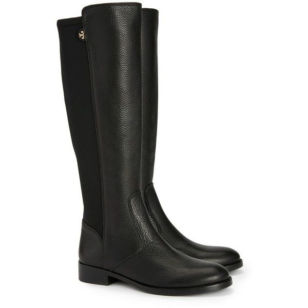 Tory Burch Selden Riding Boots-Tumbled Leather/Stretch Scuba ($495) ❤ liked on Polyvore featuring shoes, boots, black, stretch boots, stretch riding boots, knee high leather boots, equestrian boots and black riding boots