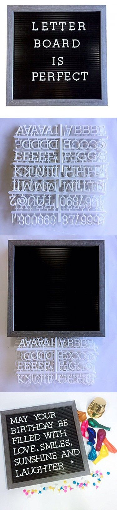 Plastic Letter Board with 1 Inch Letters - 188 Characters Include Plastic Letters, Numbers & Symbols, Changeable Letter Boards By Atoz Create, Message Board Sign, Black & White & Grey, 12x12 Inch