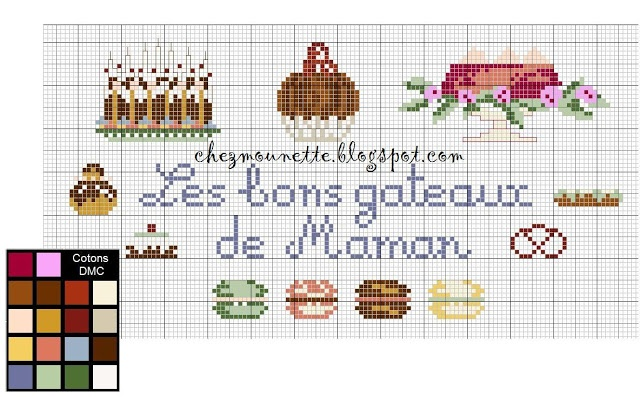 cross stitch cakes macarons gateau au point de croix