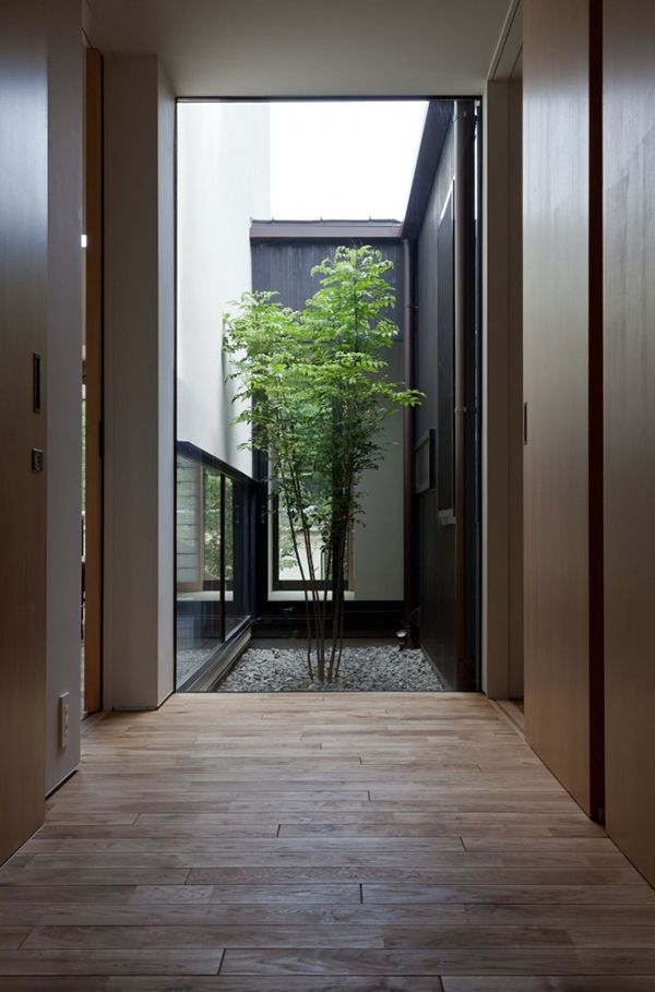 Interior Courtyard2 Compact Wooden Home With Japanese Details For Young Couples