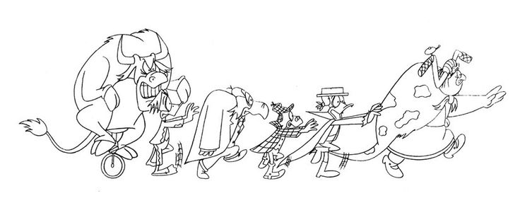 """Vampire Vacation"" by Brian Cosgrove Original Production Drawing 24cm x 57cm THIS SKETCH IS SOLD"