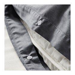 IKEA - GÄSPA, Funda nórd y 2 fundas almohada, 240x220/50x60 cm, , La ropa de cama de satén de algodón es muy suave y agradable, y tiene un brillo que le da un aspecto muy bonito.La ropa de cama de algodón cepillado tiene una textura lisa y un tacto suave.Los corchetes a presión ocultos mantienen el edredón en su sitio.