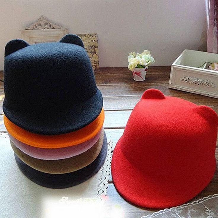Купить товар2015 новое поступление продуктов женщин уникальный симпатичные шерсть зимние и осенние уши Hat Cap рождество горячая распродажа шапки для девочек шляпы в категории Шляпы городскиена AliExpress.