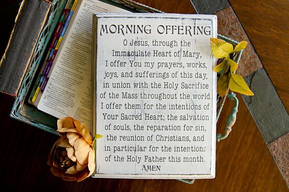 Rustic Catholic Morning Offering Prayer Sign