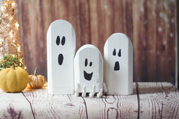 Récupéré les fantômes bois Decor Halloween rustique, primitif Ghost, Ghost en bois, Halloween primitif, décoration rustique, décoration de Halloween