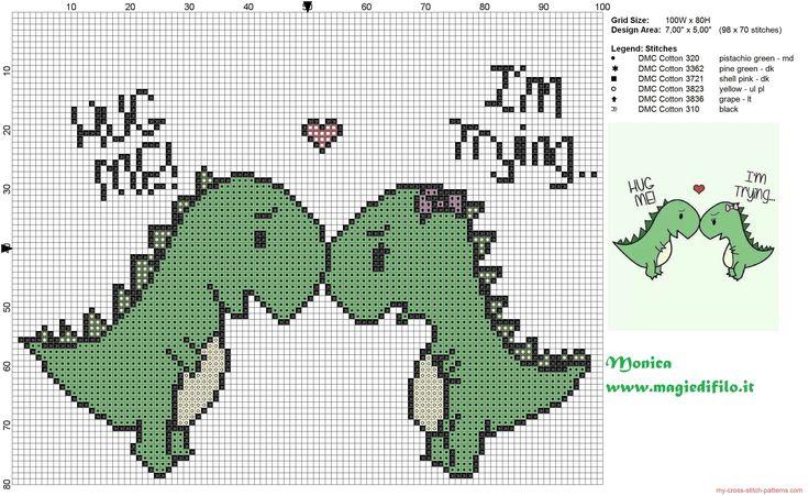 2 lovely dinosaurs cross stitch pattern