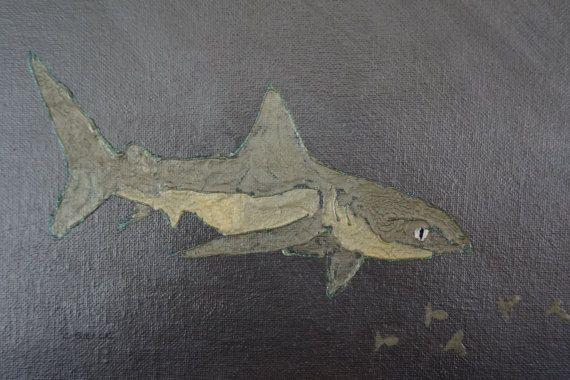 Original shark painting shark art acrylic shark by Paintparty101