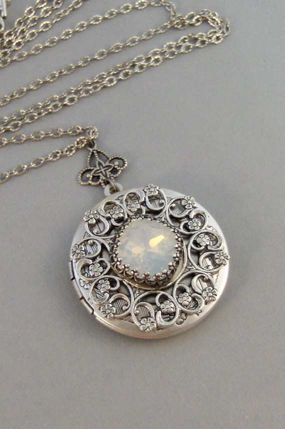 under the moon moonstone opal locket antique locket silver locket moon white stone princess cut. Black Bedroom Furniture Sets. Home Design Ideas