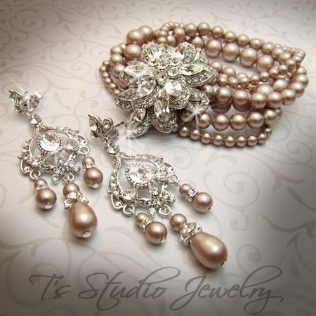 Pearl Bridal Chandelier Earrings Crystal and Rhinestone Silver Wedding Jewelry - you can change the color of the pearls