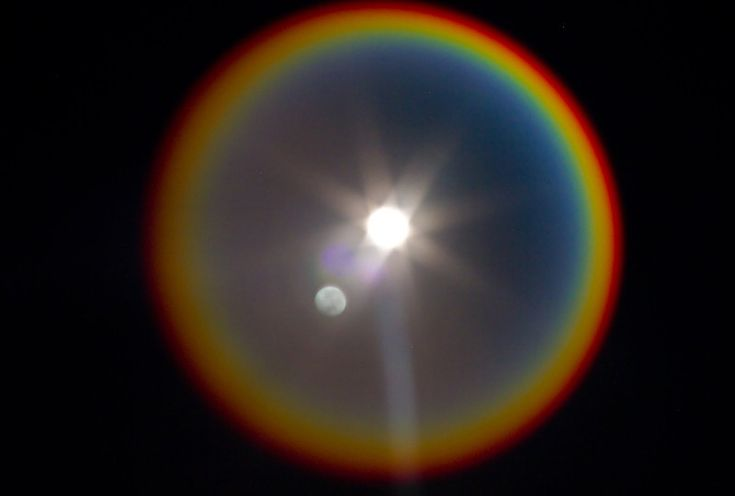 Rainbow around the moon meaning rainbow halo around moon What does it mean when the moon is pink