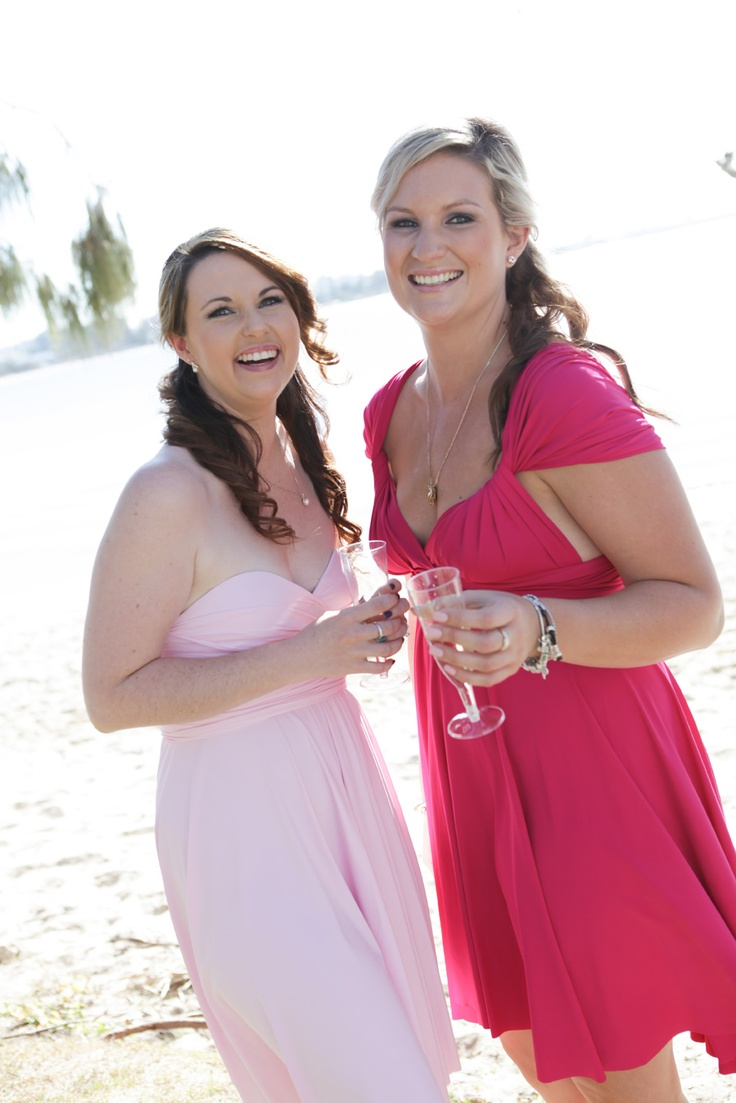 Pale Pink and Magenta Convertible Bridesmaid Dress by http://www.lucyandloo.com.au     Wrap and Twist these Convertible Dresses into over 50 different styles. Match your bridesmaids.. or let them style differently to suit their shape.