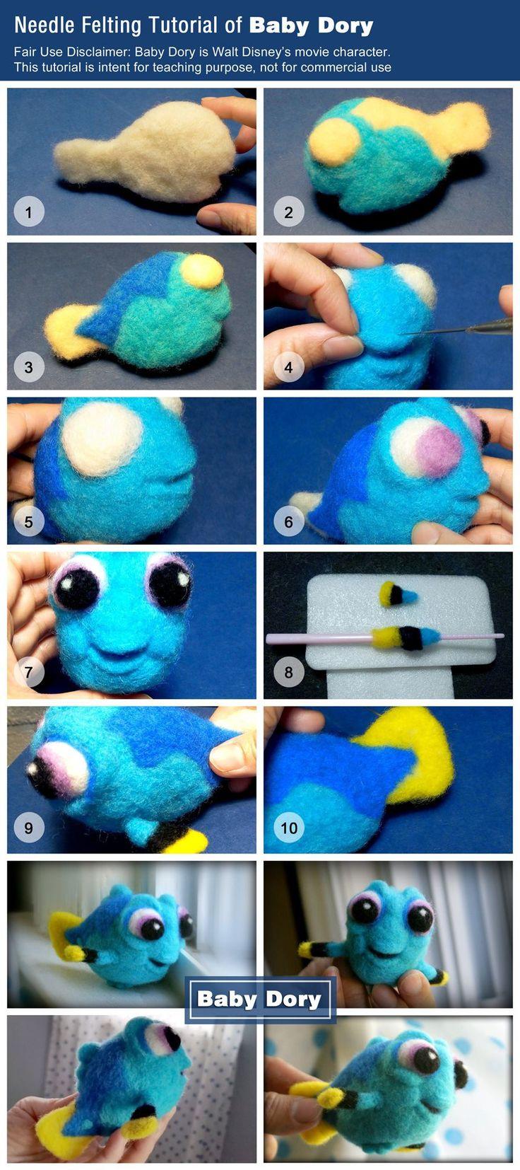 Needle Felting tutorial of Baby Dory - Christine Creative wool needle felting