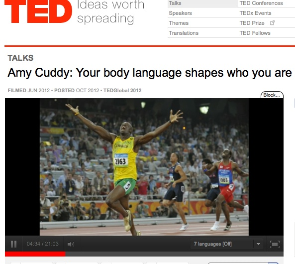 "ted talk your body language shapes Amy cuddy at ted talksthesis of speech:""your body language shapeswho you   the speech talks about the differenttypes of body language."