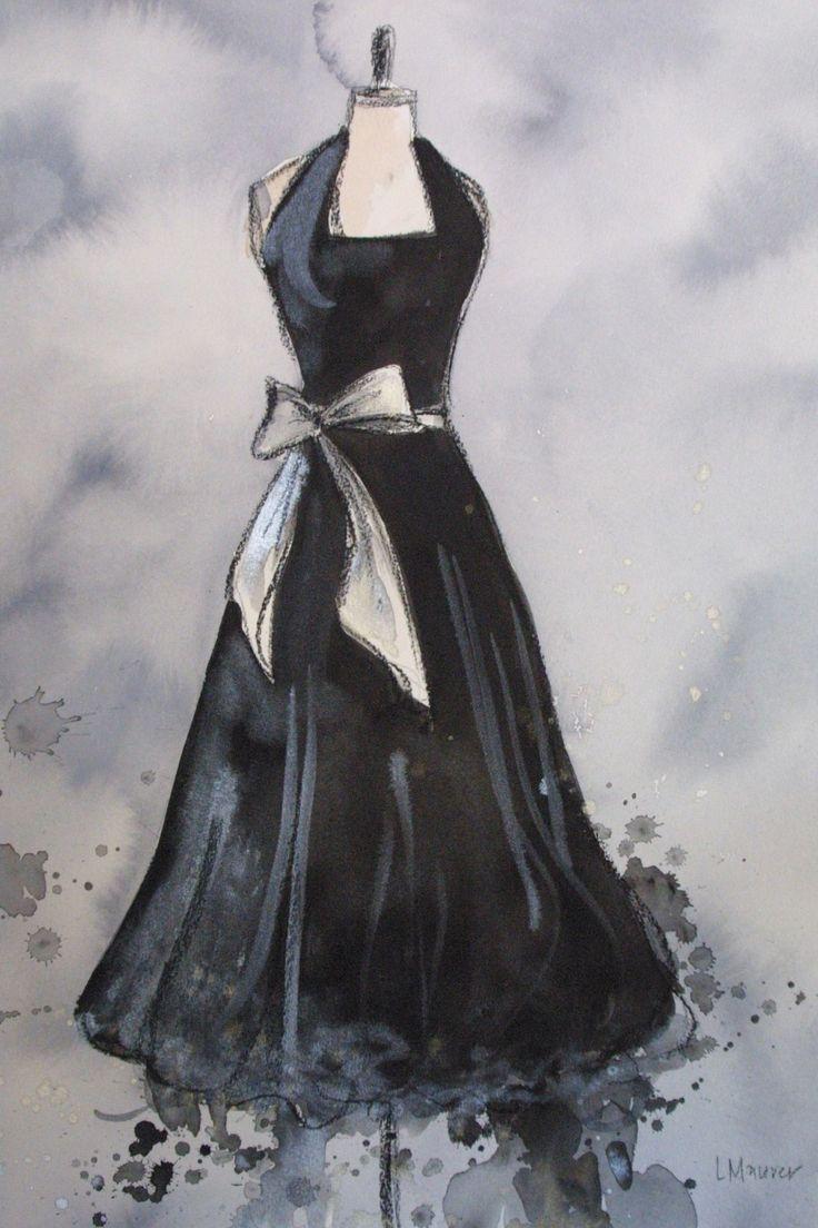Vintage Dress Painting Original Watercolor by laurenspaintpalette