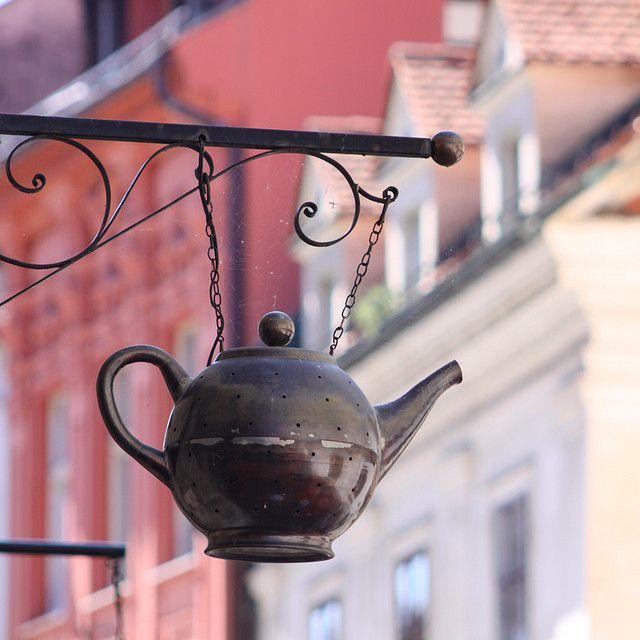 sign for a tea shop in ljubljana, slovenia