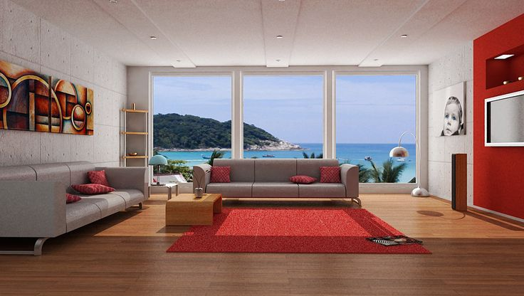 Red color schemes for living rooms with cool lamp