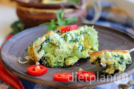 Диетический завтрак - запеканка с брокколи и моцареллой
