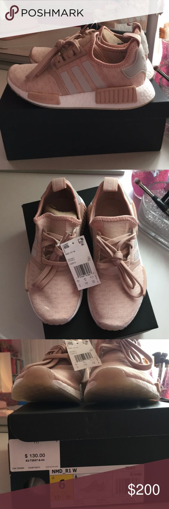 Adidas NMD R1 Women's 6 Chalk Pearl Beige Pink BRAND NEW. Comes with box & tags are still attached. 100% authentic but I can provide proof of purchase with receipt. Sold out online and everywhere!  Adidas NMDs tend to run about half a size bigger. These shoes will perfectly fit size 5.5-6  **Price on here is listed higher due to PM fees. If you would like to purchase for a lower cost, please message me! Thank you :) adidas Shoes Sneakers