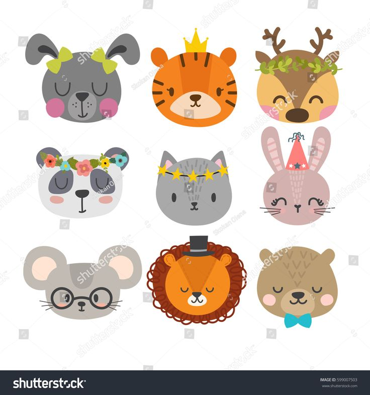 Cute animals with funny accessories. Set of hand drawn smiling characters. Cat, …