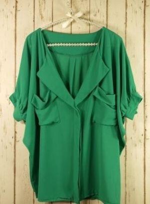 pura verde, blusa desgarbado.  por Reva