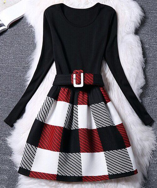 Women's Belted Long Sleeve Scoop Neck Plaid Dress