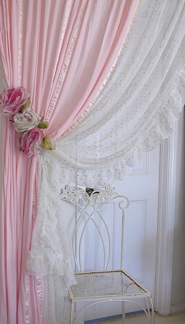 Delicate Pink Curtains - for my bedroom. Because I'm a girl.  Aren't the rose tiebacks just too pretty?