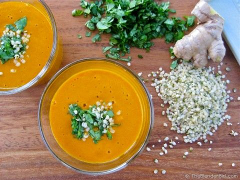 Make a quick healthy soup using carrot juice and some fresh coconut meat. Try @Joe Cross 's Raw Carrot Soup. This recipe is super easy and absolutely delicious.