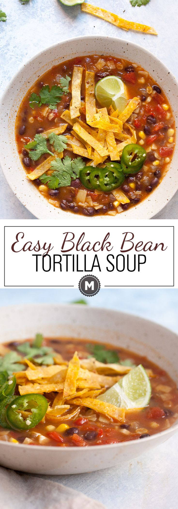 Easy Black Bean Tortilla Soup: When you have no time, but want a really delicious and warming bowl of soup, this is the recipe for you! It's embarrassingly simple to make, but has great flavors. Take the time to make the crispy tortilla strips. They make the difference! | macheesmo.com