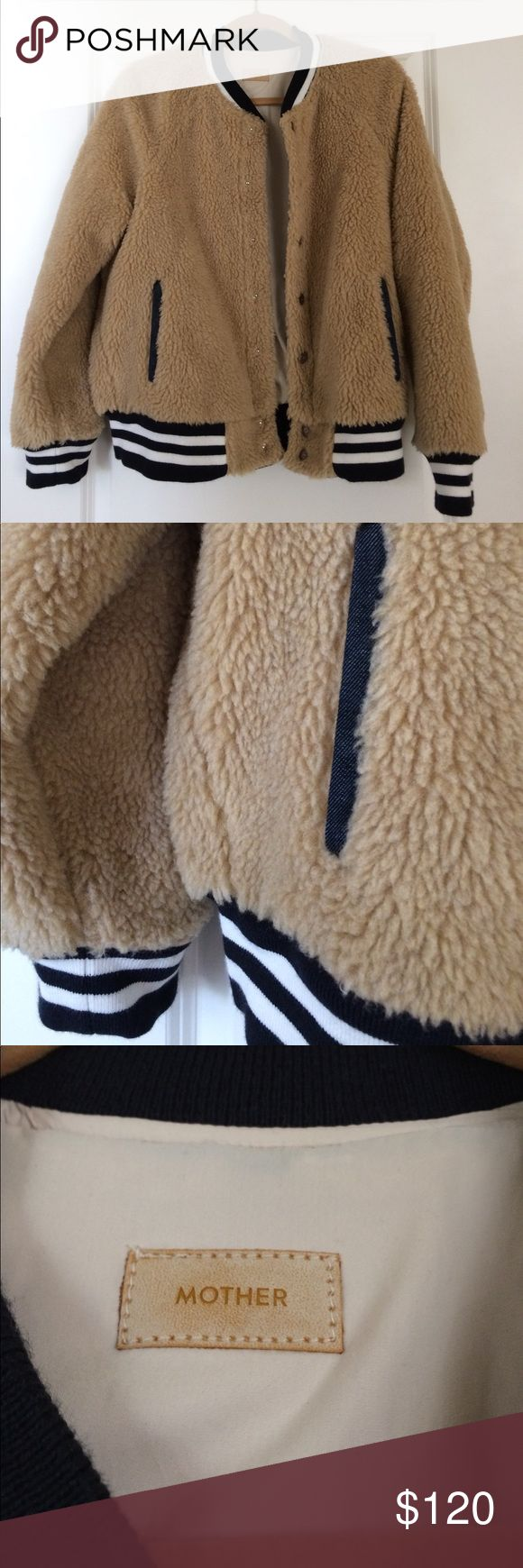 """**NWOT** MOTHER Letterman jacket MOTHER Denim classic Letterman style jacket in """"teddy bear fur"""", size Large (fits almost an XL snugly), new without tags.  Perfect for late spring or early fall! MOTHER Jackets & Coats"""