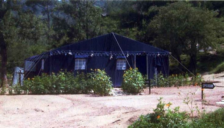 An Army Mess Tent in Blue Canvas by Sangeeta International