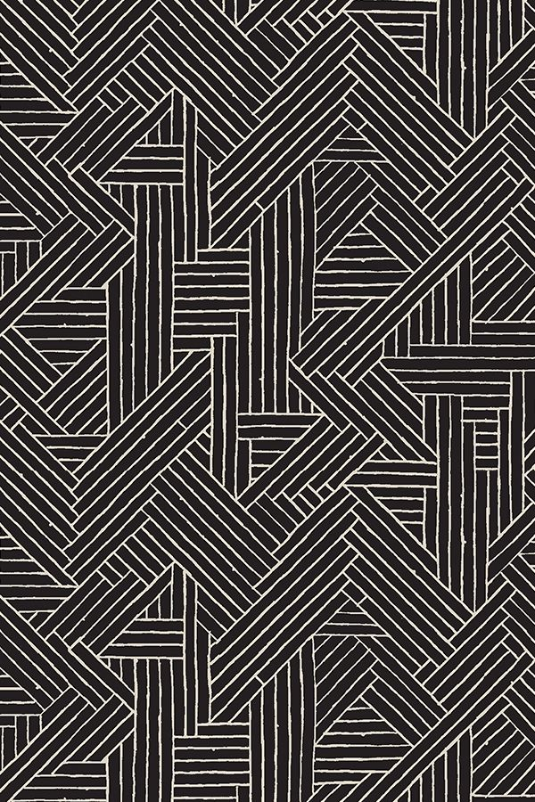 Tiki Rattan 1d by muhlenkott - Hand drawn mudcloth geometric design in black and white on fabric, wallpaper, and gift wrap.  Sketched lines in geometric pattern in a mudcloth design.