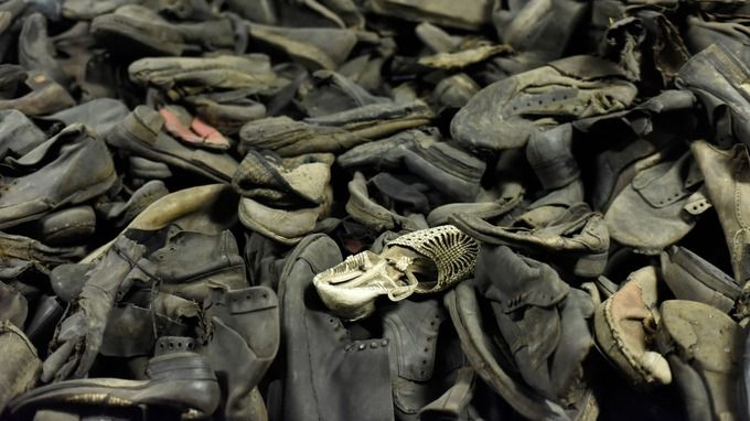 Discarded shoes are among the belongings displayed at the former death camp.