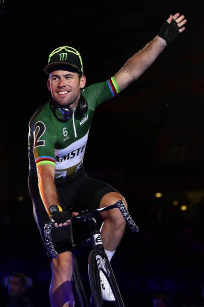 Mark Cavendish of Great Britain waves as he's introduced to the fans on day one of the London Six Day Race at the Lee Valley Velopark Velodrome on...
