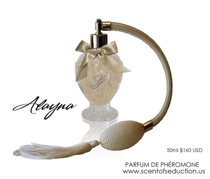Alayna Parfum de Phéromone - unusual sharp top and blooming sweetness of soft petals.  www.scentofseduction.us