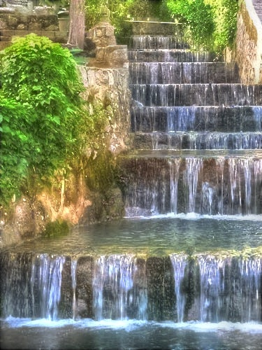 Waterfall: Caldas de Monchique is a spa town in the Monchique Mountains in the Algarve region of Portugal